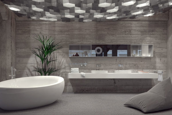 40942966 - modern grey luxury bathroom interior with a free-standing boat-shaped bathtub and double vanity lit by an array of hexagonal down lights. 3d rendering.